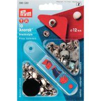 Set capse metalice, anorak, pentru textile, de 12 mm, 10 perechi cu aplicator, Prym, 390330