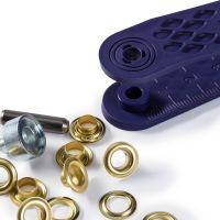 Set ocheti de 5 mm, auriu, cu dispozitiv de montare, 40 buc, Prym 542411